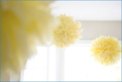 yellow-tissue-pom-poms